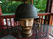 Ww2 Fixed Bale M1 Helmet With Early Westinghouse Rayon Liner Rectangle Washers