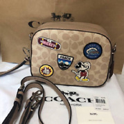 Coach X Disney Mickey Mouse Collaboration Patchwork Signature Crossbody Bag Brow