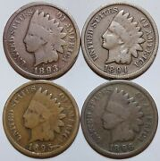 Indian Head Penny Lot 1893-1894-1895 And 1896 Avg Or Better Free Shipping 083