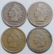 Indian Head Penny Lot 1894-1895-1896 And 1897 Avg Or Better Free Shipping 084