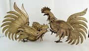 Vintage 1950 2 Brass Fighting Roosters 14 Statues Made In Japan