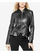 Guess Womens Black Zippered Faux Leather Zip Up Jacket Size Xl