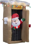 Gemmy 6 Ft Animated Inflatable Santa Coming Out Of The Outhouse With Lights
