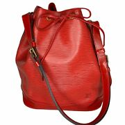 Louis Vuitton Authentic Noe Red Bucket Tote Bag Draw String Closure Vintage 1995