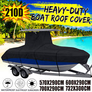 Heavy Duty Center Console T-top Roof Boat Cover 16-24ft Storage Waterproof 210d