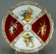 Dresden Hand Painted Watteau Courting Couple Red Gold And Floral Shallow Bowl