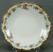 Jean Pouyat Limoges Pink Rose White Floral And Gold Large 9 5/8 Inch Shallow Bowl