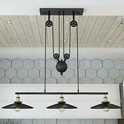 Industrial Vintage Chandeliers Pulley Fixture For Pool Table Farmhouse