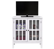 Durable Storage Sideboard Glass Door Accent And Display Cabinet Organiser - White