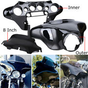 Vivid Black Batwing Inner/outer Fairing/windshield For Harley Touring 1996-2013