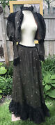 Antique Women Skirt And Bodice Set 1870-1890s Silk Brown Black Ruffles Lace Xs