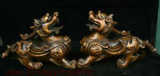 Old Chinese Bronze Feng Shui Animal Pixiu Brave Troops Unicorn Beast Statue Pair