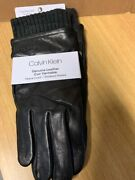 Calvin Klein Menand039s Leather Winter Gloves Rib Touch Fleece Lined Knit Cuff