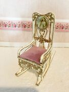 Dollhouse Miniature Victorian Ivory With Pink Cushion Rocking Chair