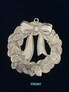And Co. Sterling Silver 925 Christmas Wreath With Bows Pinecones Ornament