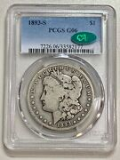 1893-s Morgan Dollar Pcgs G06 Cac Extremely Nice For The Grade