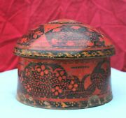 19c Antique Handmade Lacquer Painted Indo Persian Sindh Wooden Turban Box Rare