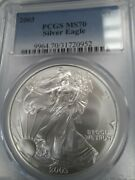 2003 Ms70 Perfect American Silver Eagle, Pcgs Blue Label, Free Shipping