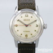 1950s Gruen Half Rotor Automatic Analog Watch Cal.460ss Pencil Hands 41mm 33mm X