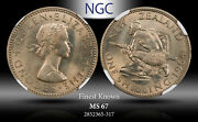 1964 New Zealand 1 Schilling Ngc Ms 67 Finest Known