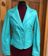 Aqua Turquoise Leather Jacket Wilsons Maxima Womens Sz Small Button Fitted