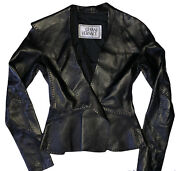Vtg Gianni Versace Soft Italian Leather Jacket Blazer Made In Italy Auth Rare