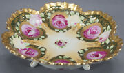 Nippon Era Shimamura Hand Painted Pink Rose Green And Gold Beaded Footed Bowl