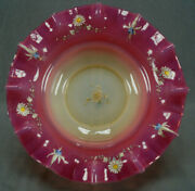 Josef Riedel Pink Yellow Opalescent White And Blue Enamel Floral Glass Brides Bowl