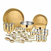 Stainless Steel Gold Dinner Set With Pvd Coating 3 People Majestic 42 Pieces