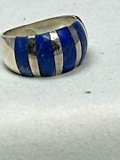 Vintage Sterling Silver And Lapis 925 Striped Ring Size