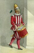 Vintage Drawing 19th Century Old Masters - Swiss Guard With Drum, Vatican City