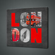 London Sign Collage Famous Landmarks Canvas Print Wall Art Picture Photo