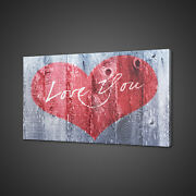 Red Heart Love You Vintage Wooden Sign Canvas Print Wall Art Picture Photo