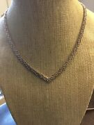 Vintage Sterling Silver Italy 925 Chevron Design Choker Necklace 15 1/4andrdquo Length