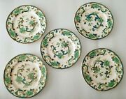 5 Vintage Masons Chartreuse Bread And Butter/cake Plate Green And Gold 6 3/4