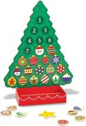 Wooden Advent Calendar Christmas Countdown Magnetic Tree 25 Magnets