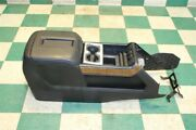 14-19 Sierra Brown Woodgrain Front Center Console Lid Leather Cupholder Wood