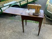 Vintage Singer Sewing Machine Stylist Zig-zag Model 457 W/ Table Made In Uk