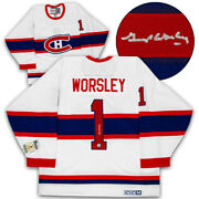 Gump Worsley Montreal Canadiens Signed Original Six Vintage Ccm Jersey