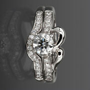 Matching Band Set Diamond Ring 1.31 Ct Solitaire And Accents 14 Karat White Gold