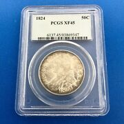 1824 Capped Bust Silver Half Dollar 50c Lettered Edge Pcgs Xf45 Early Us Coin