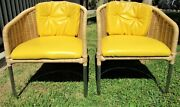 Pair Harvey Probber Chrome And Wicker Lounge Club Chairs Mid Century Modern Mcm