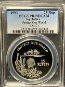 Seychelles 1993 25 Rup /protect Our World / Pcgs Pr69dcam / Very Beautiful Coin