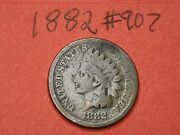 1882 - Us Indian Head Cent Penny 907