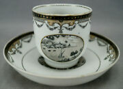Chinese Export Hand Painted Grisaille Maritime Harbor Scene Coffee Cup And Saucer