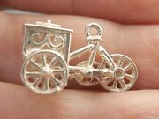 Ice Cream Cart And Tricycle Vintage Sterling Silver Hollow Charm Wheels Move