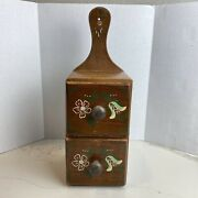 Vintage Wood Hanging Spice Box Cabinet 2 Drawers Hand Made Tole Painted