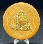 """Antique 2-1/2""""d X 1""""t Wooden Ring/trinket Box W/ Rcmp Kings Crown Collar Dog"""