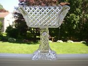 Lorraineeapg Fostoria Glass Square Pedestal Compote Crystal Footed Bowl Diamond