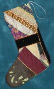 Awesome Antique Vintage Crazy Quilt Christmas Stocking Cutter Quilt Cq66